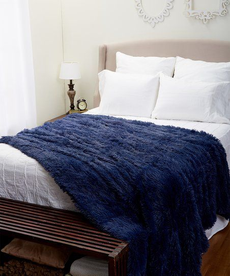 Marvelous S.L. Home Fashions Navy Elise Shaggy Blanket | Zulily