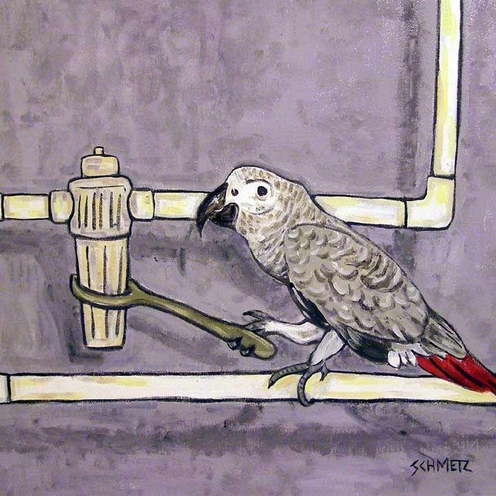 AFRICAN GREY surfing bird parrot  art print 8x10 animals impressionism