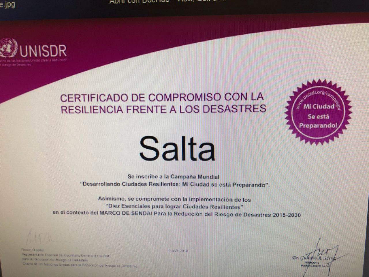Salta recibió el certificado de Compromiso con la Resiliencia.: Es ...