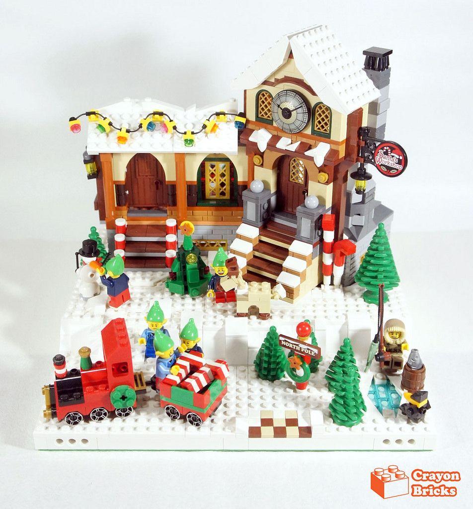 Crayonwintervillagesantaworkshop lego christmas village
