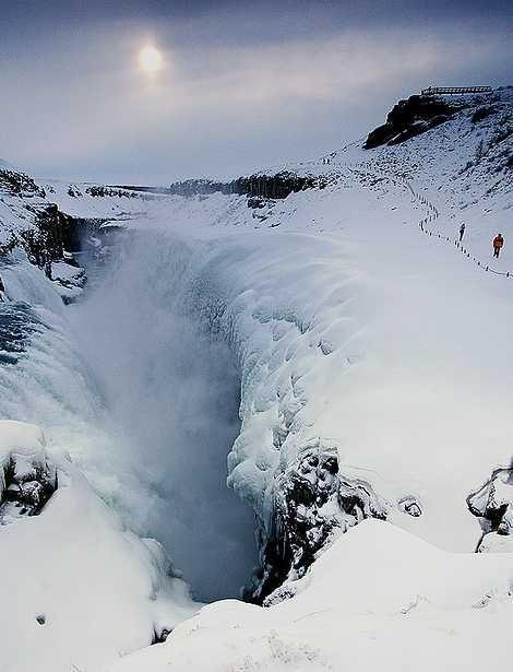 Gulfoss frozen waterfall in Iceland
