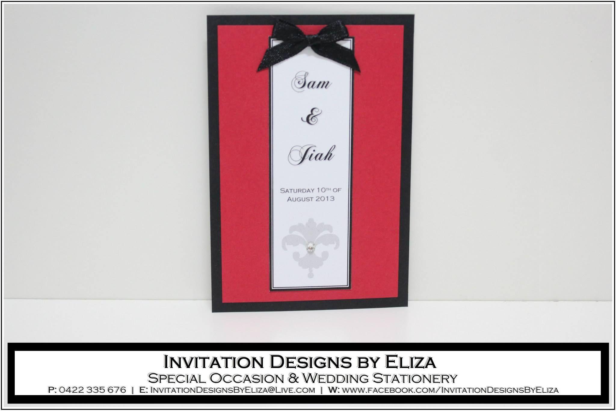 Invitation Designs {Wedding} Black, White & Red Theme https://www ...