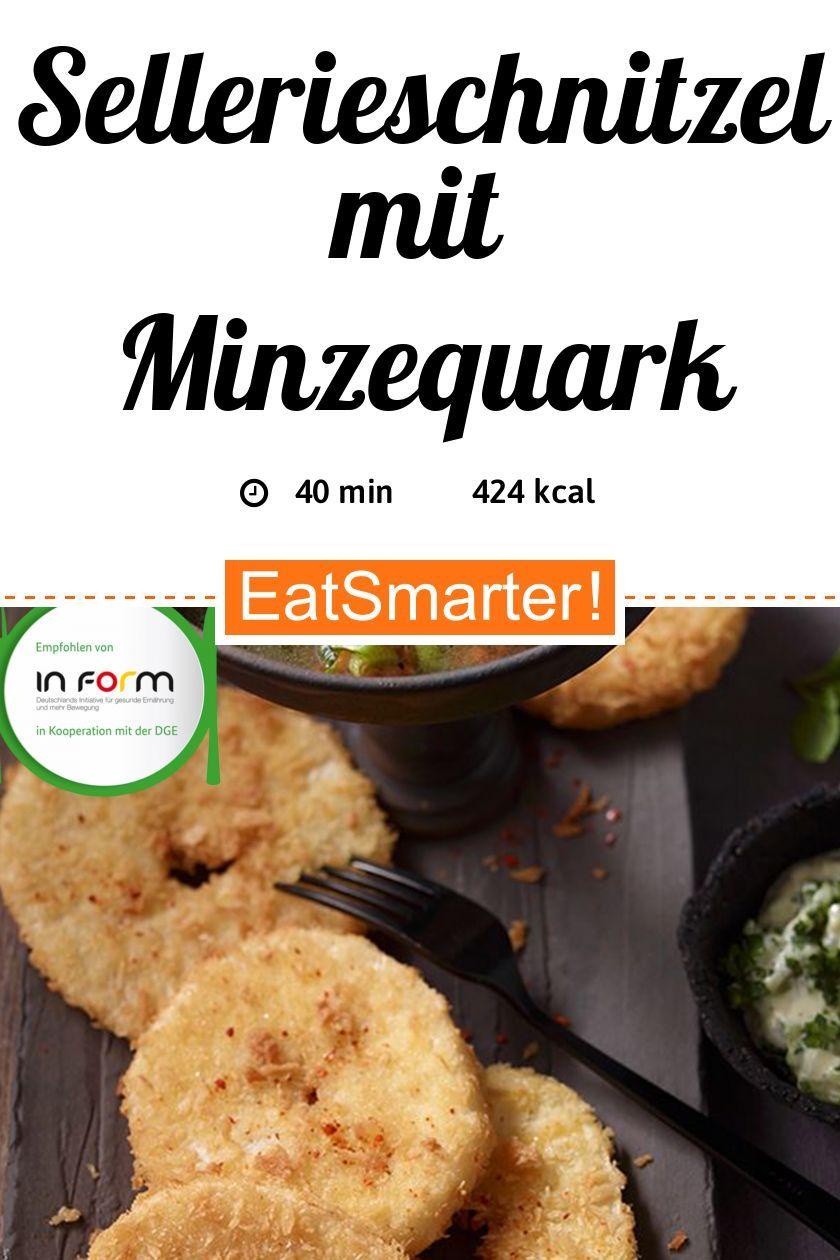 Sellerieschnitzel mit Minzequark und roten Linsen