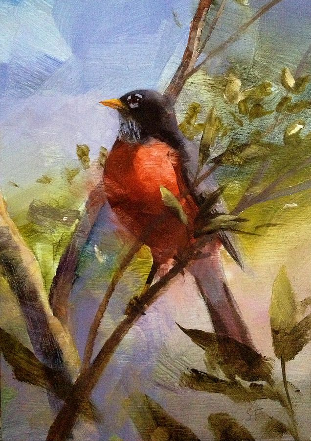 Painting Robin In Acrylics