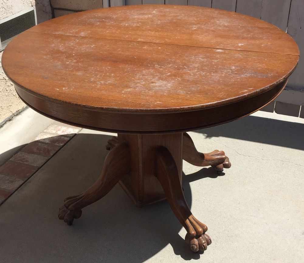Antique Round Oak Claw Foot Dining or Kitchen Table w/4 ...