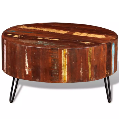 New Antique Style Solid Reclaimed Wood Round Coffee Table Living