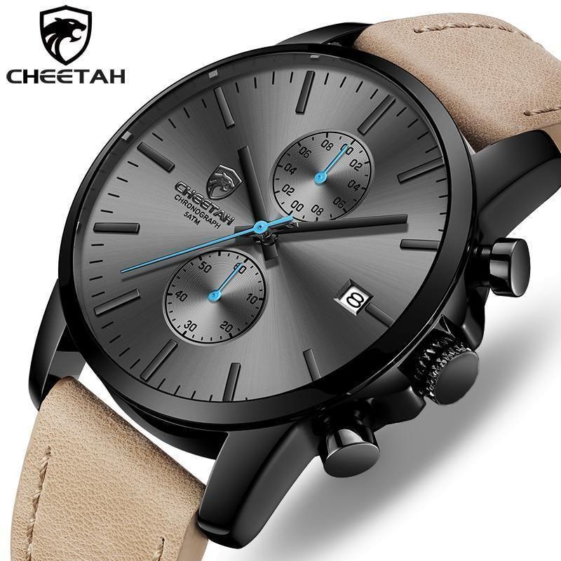 2019 Men Watch Cheetah Brand Fashion Sports Quartz Watches Mens Leather Waterproof Chronograph Clock Mens Watches Leather Mens Fashion Watches Watches For Men