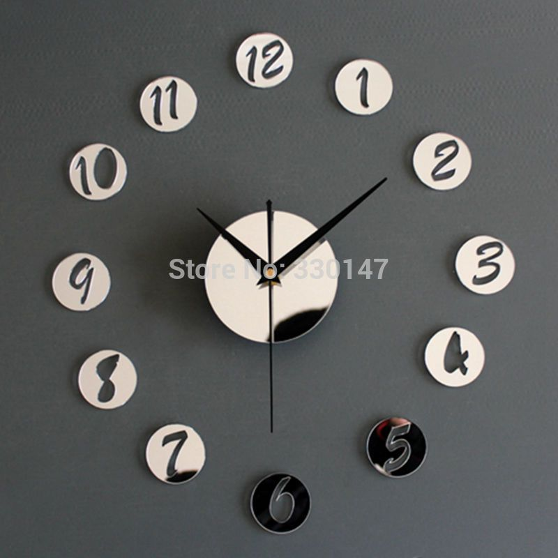 creative designs mirror wall clock large. Home Decor Wall Clock Acrylic Creative Mirrors Figure in Small Round  Best DIY