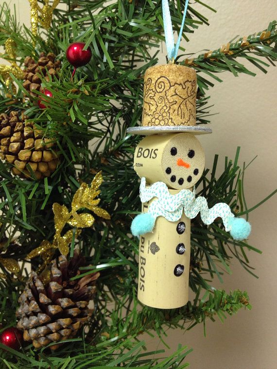 Snowmen Wine Cork Ornaments