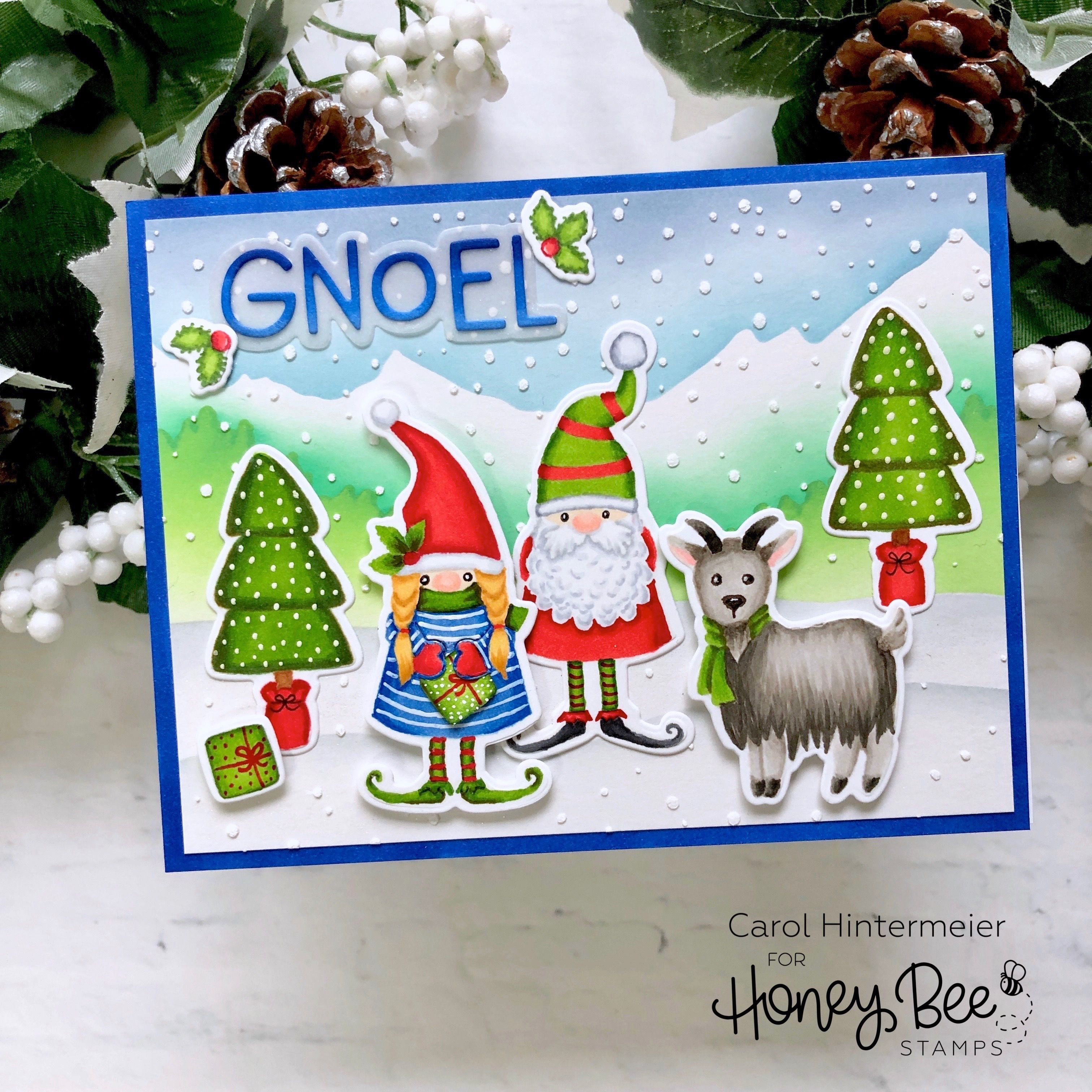 Gnoel Winter Holiday Card In 2020 Honey Bee Stamps Bee Cards Christmas Cards Handmade