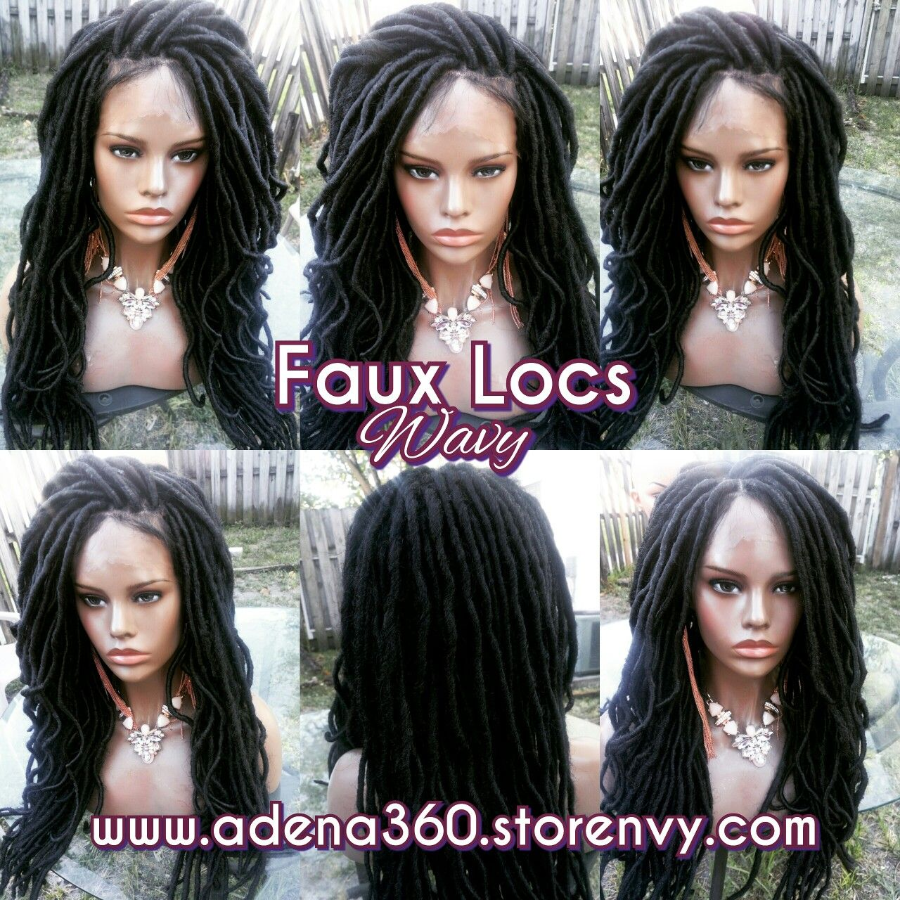 """Wavy faux locs lacefront in 18""""  Order here:  www.adena360.storenvy.com"""
