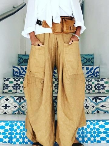 Women Loose Solid  Casual  Pants Baggy trousers 1