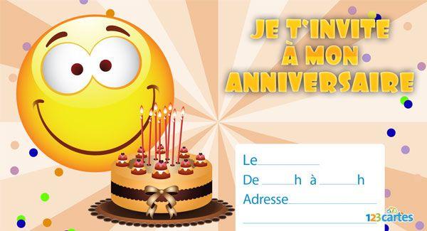 invitation anniversaire smiley 123