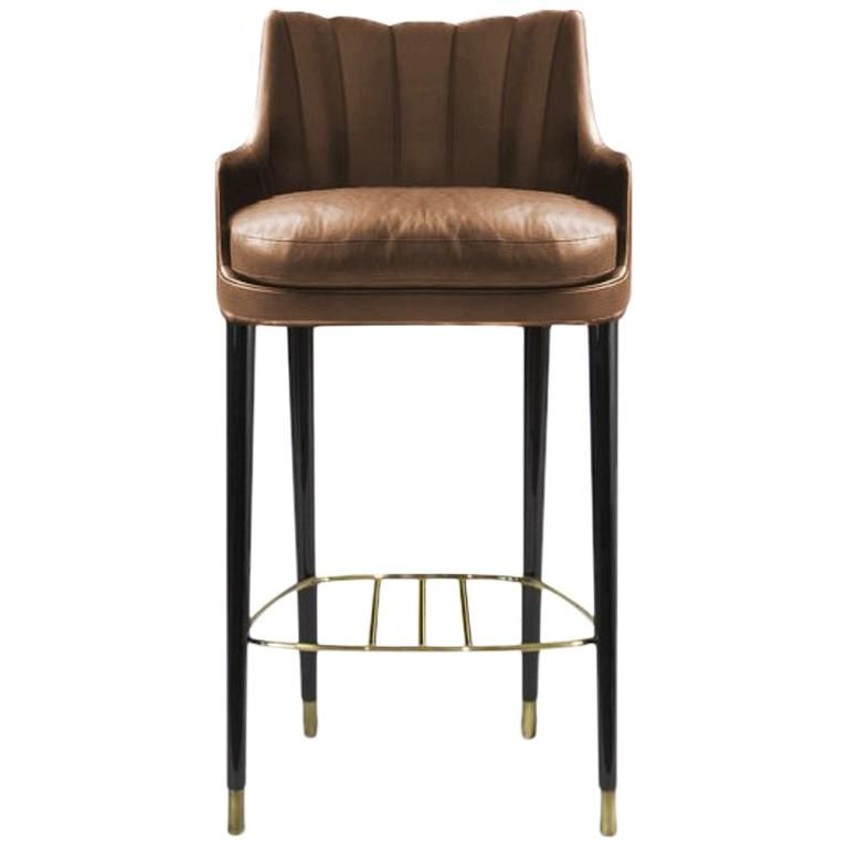 Remarkable Plum Counter Stool In Faux Leather With Glossy Aged Brass Cjindustries Chair Design For Home Cjindustriesco