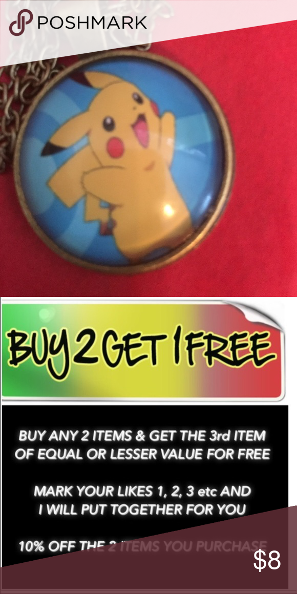 POKÉMON Made of glass and alloy.  Medallion is about an inch. The chain length is approximate between 17 to 20 inches.  If you need exact chain length please ask. Jewelry Necklaces
