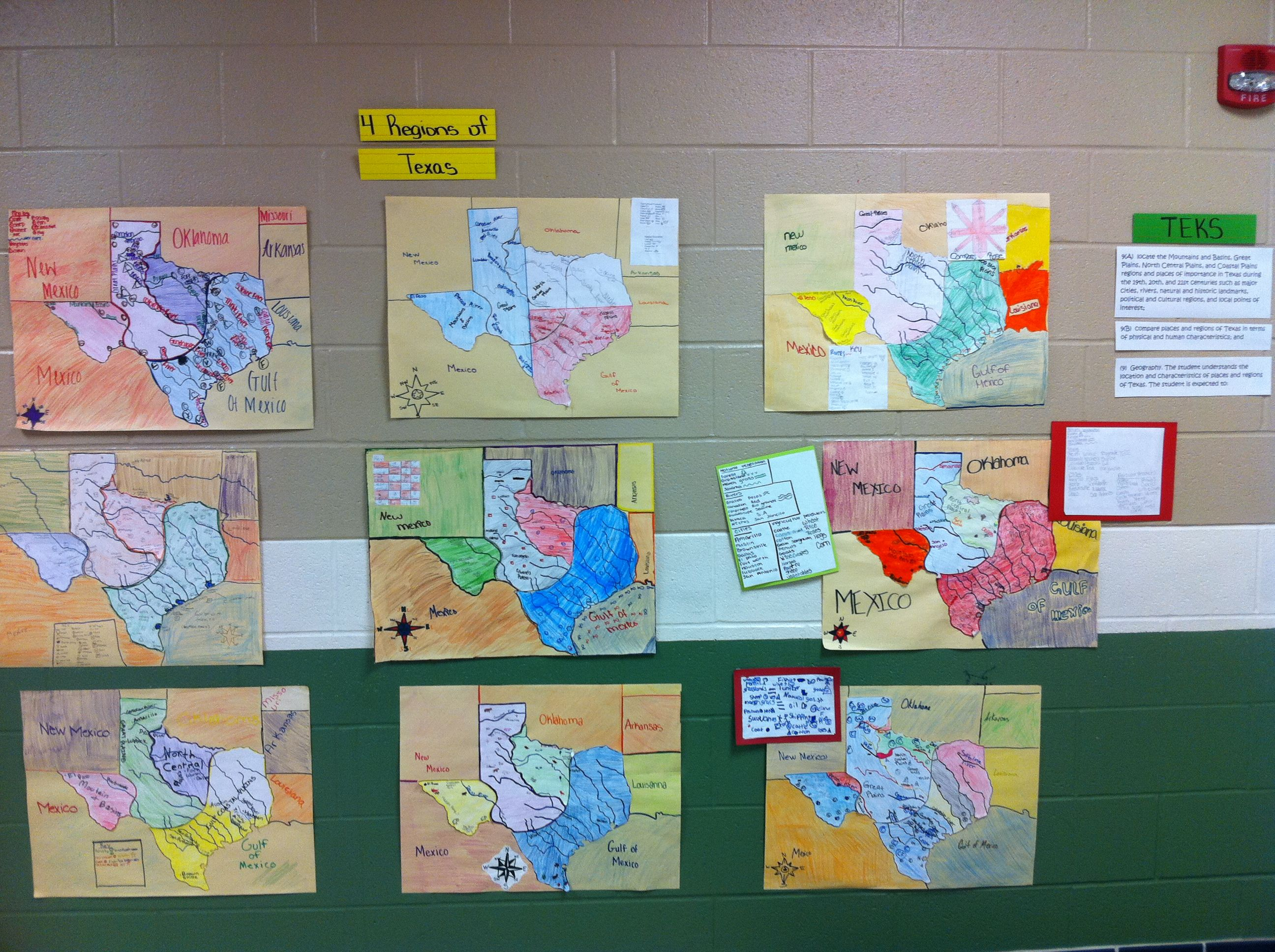 Texas History Regions Puzzle Map