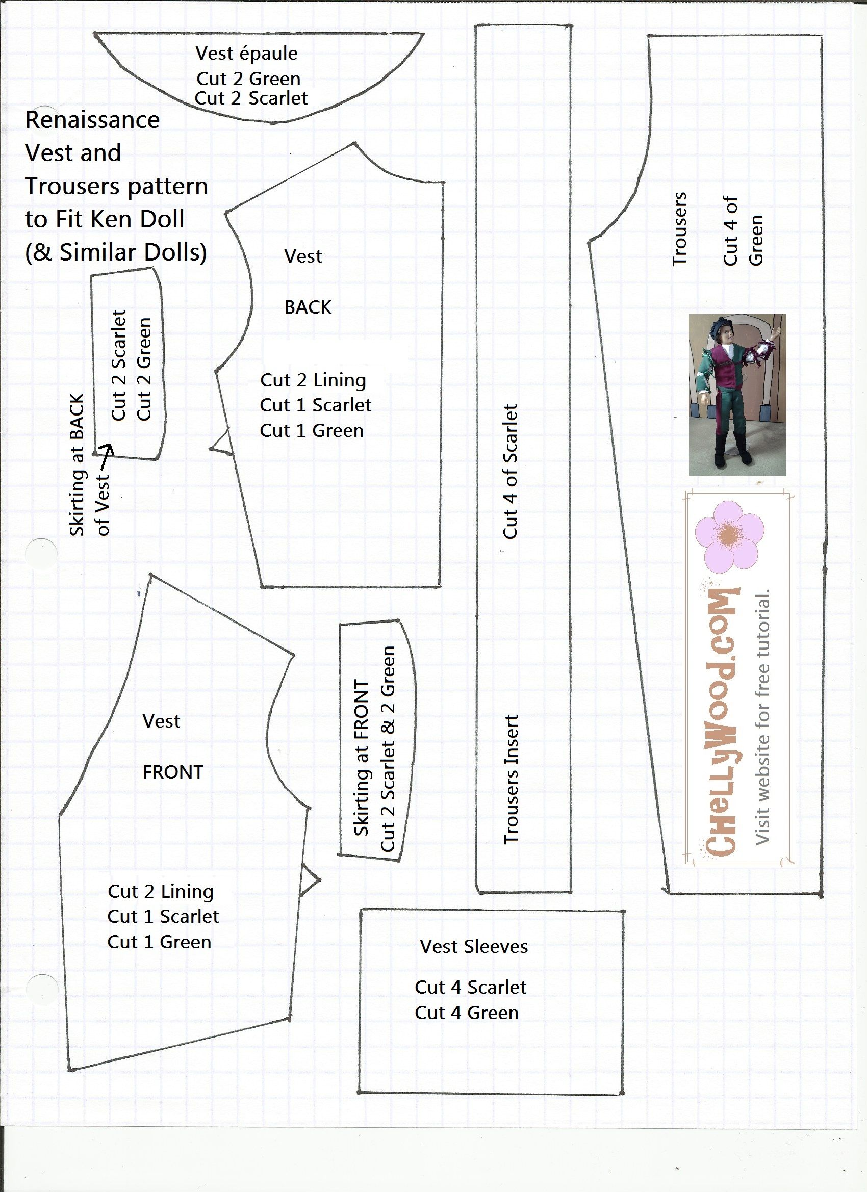 photograph relating to Free Printable Ken Doll Clothes Patterns referred to as Routine for Bicolor Renaissance Jacket and Trousers for Ken
