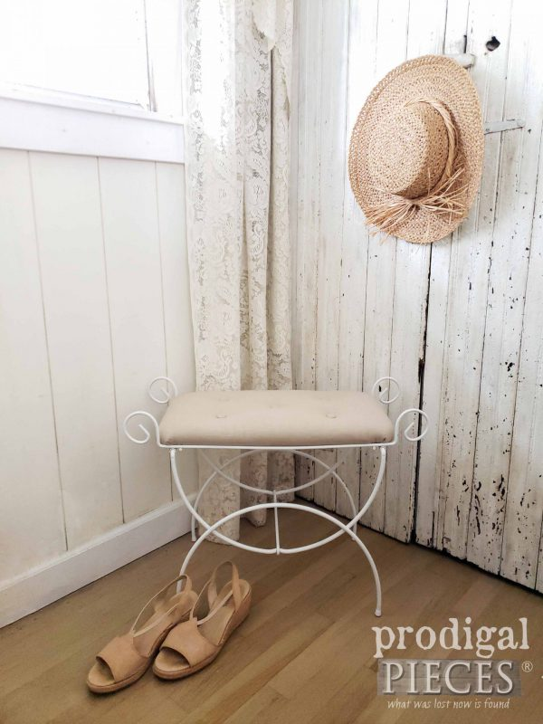 Tufted Linen Upholstered Vanity Seat by Larissa of Prodigal Pieces | prodigalpieces.com #prodigalpieces #furniture #diy #upholstery #linen #home #homedecor #farmhouse #shabbychic
