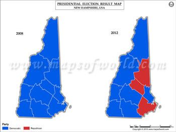 New Hampshire Election Results Map Vs USA Presidents - 2008 and 2012 us presidential election results maps