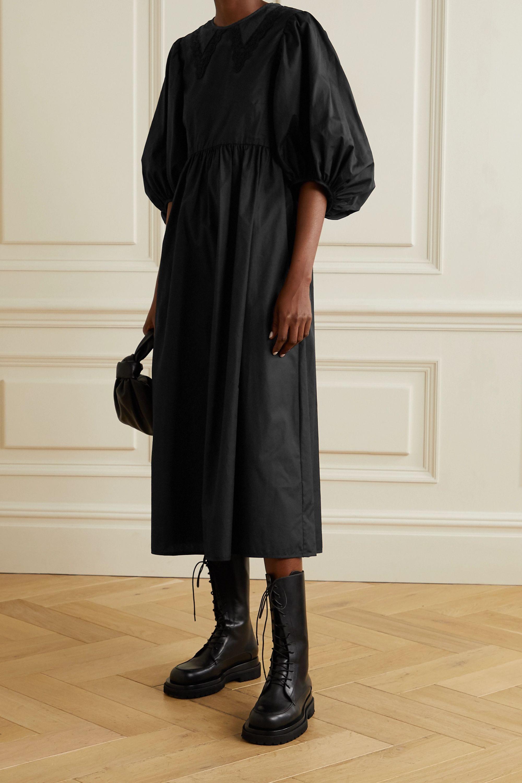 Black Mette Gathered Cotton Poplin Midi Dress Cecilie Bahnsen Oversize Sleeves Fashion Cotton Poplin [ 3000 x 2000 Pixel ]