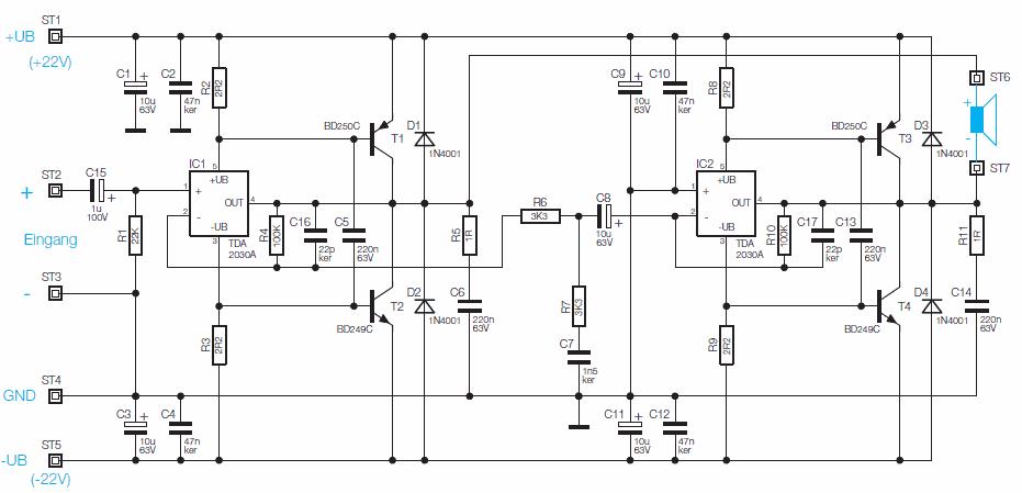 400 watt hi fi stereo Power Amplifier Circut TDA2030 Transistor ...