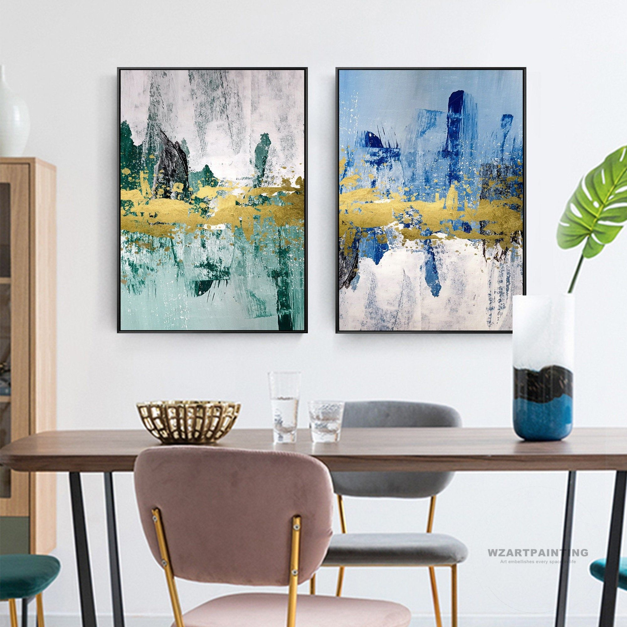 Framed Wall Art Set Of 2 Prints Abstract Gold Green Blue Print Painting Gold Art Pictures On Canvas Large Wal Framed Wall Art Sets Frames On Wall Wall Art Sets
