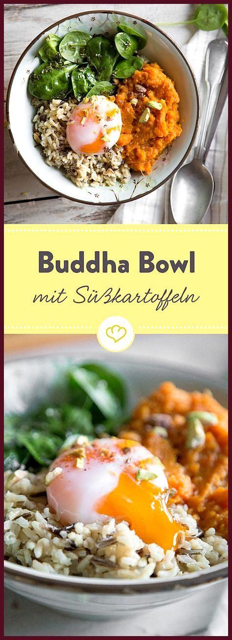 Kurkuma-Süßkartoffeln, eine Handvoll Spinat, aromatischer brauner Reis und ein… #aromatischer #braun...