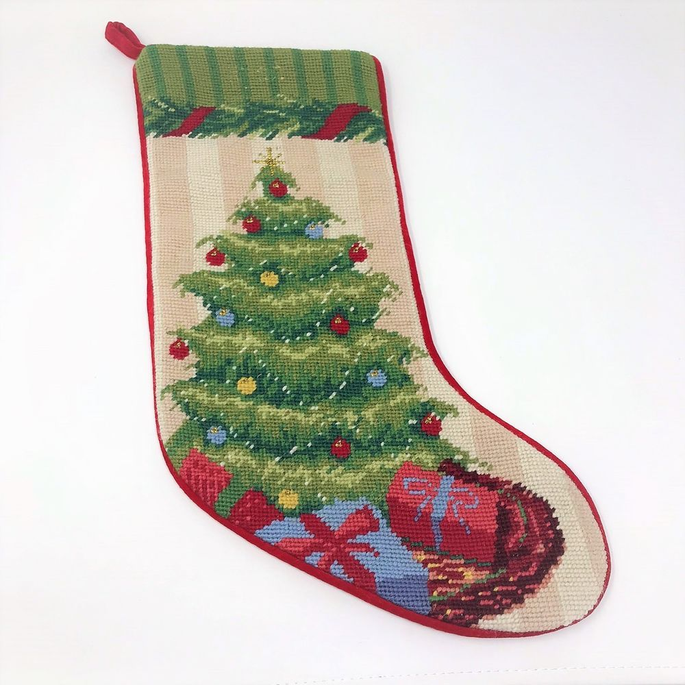 Lands End Needlepoint Christmas Stocking Christmas Tree