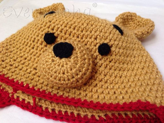Crochet Pooh Bear Hat Pattern : Pooh Bear Crochet Earflap Hat by Evermicha on Etsy ...