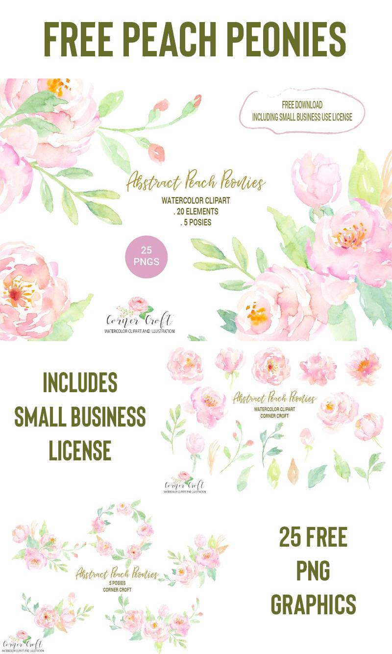 free watercolor flowers peonies