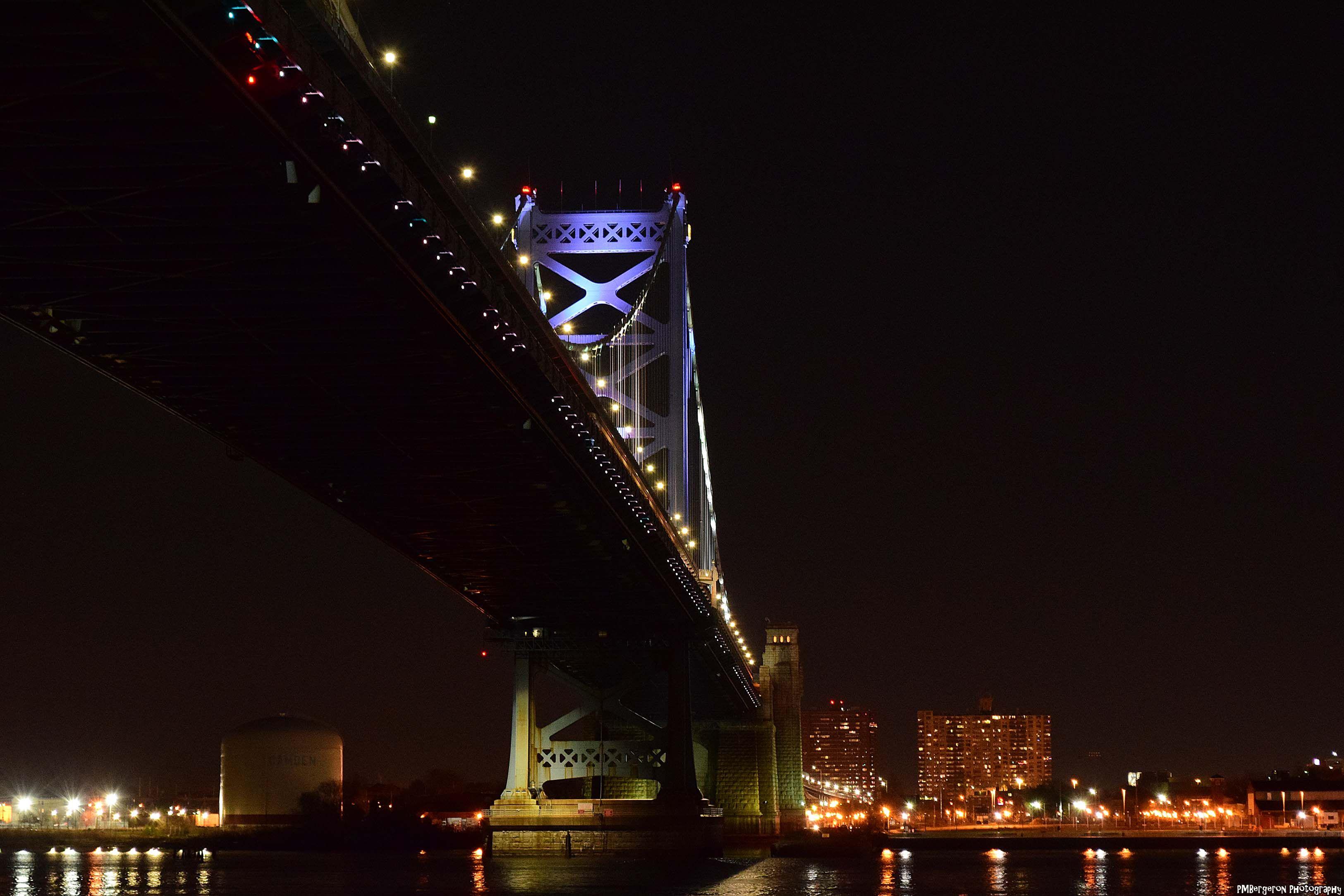 Ben franklin bridge on the camden nj side of the river