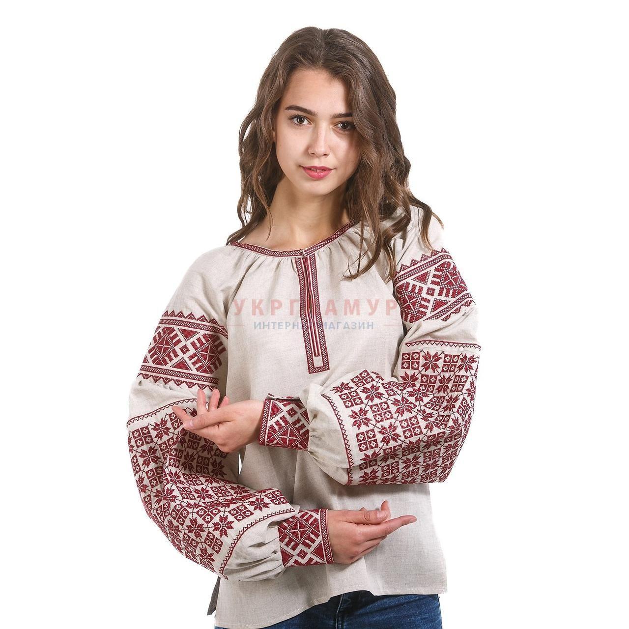 48b977f31b59fa9 Купить Женская серая вышитая рубашка с красным орнаментом в Киеве, цена,  отзывы | Вышиванко