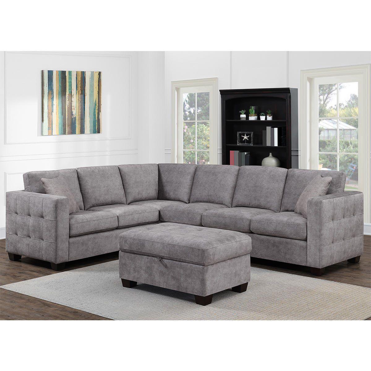 Thomasville Kylie Grey Fabric Corner Sofa With Storage Ottoman
