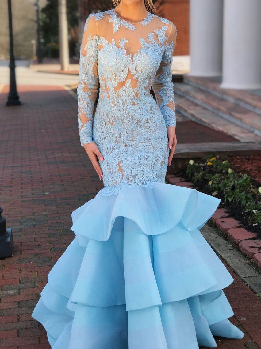 Sky blue long sleeve prom dresses lace tiered mermaid bodycon formal