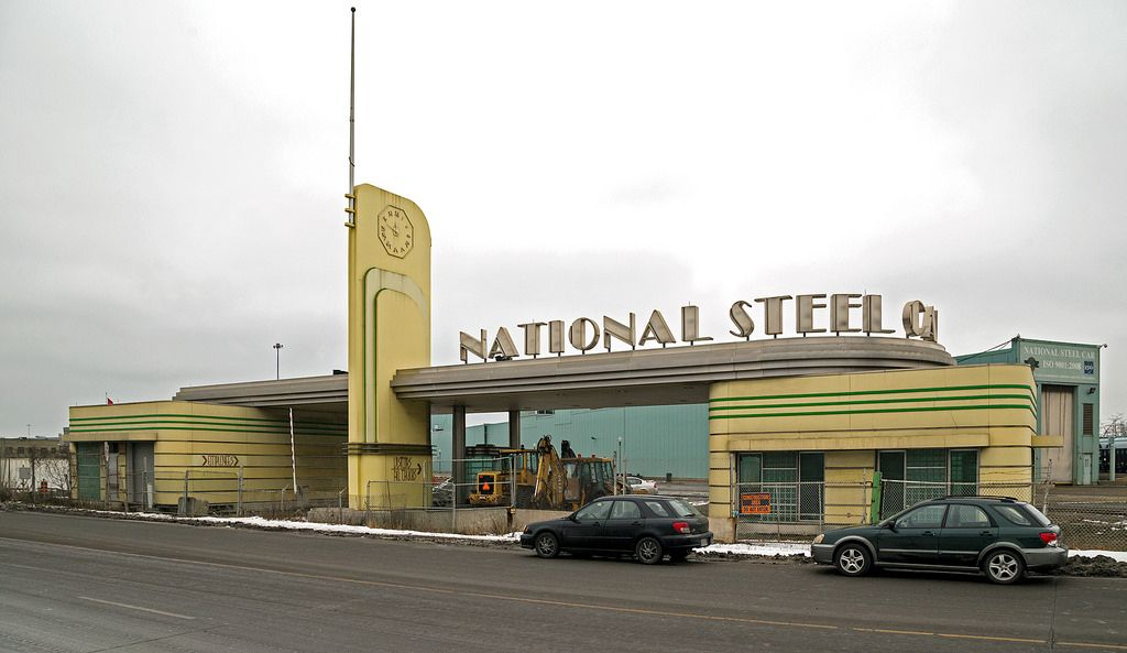 The amazing yellow and green art moderne national steel car gatehouse in hamilton ontario
