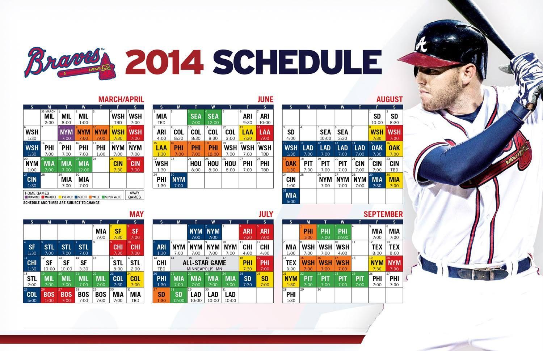 2014 Braves Schedule Atlanta Braves Baseball Atlanta Braves Braves
