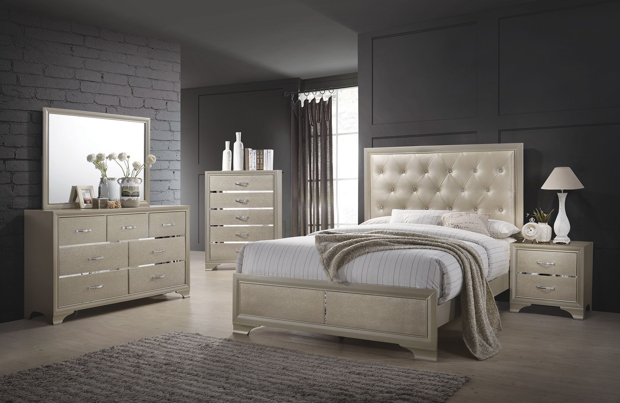 Coaster Beaumont Champagne Upholstered Panel Bedroom Set Collection 4 Reviews 1stopbedrooms