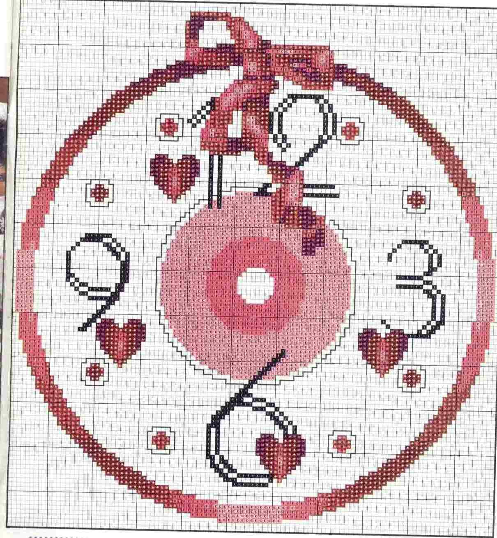 Schema punto croce orologio cuori 1b el tiempo en punto for Orologio punto croce schemi gratis