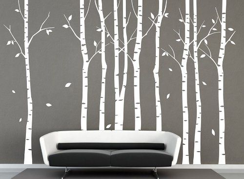 Vinyl Large White Birch Tree Wall Decal Tree Decal Nursery Birch Tree Decals  Ihomeart Http: