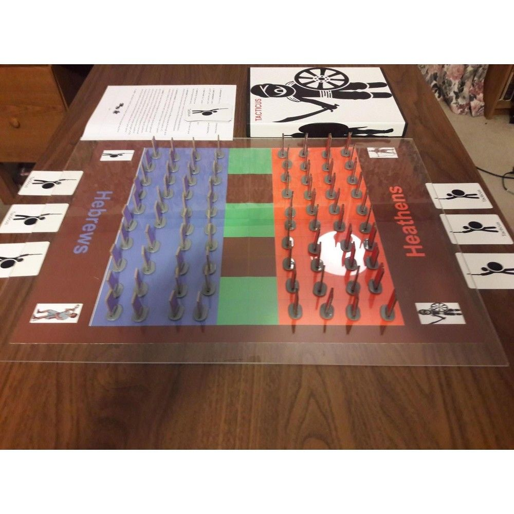 """Tacticus is a """"Fog of War"""" strategy game with Hebrews Heroes; David, Joshua, Samson, Joab, Caleb, Othniel, Ehud, Abishai, Benaiah and Jehu vs. Heathen Heroes; Antiochus Epiphanes, Athaliah, Beast, Delilah, Goliath, Hamon, Jabin, Nimrod, Sisera and Titus. The Heathen and Hebrews have to capture each other's King to win. Archers, Champions, Mountains, Spy's, and 18 strategy cards add complexity to the otherwise straight forward field of battle. This is a 2-player game lasting about 20 minutes. Can"""