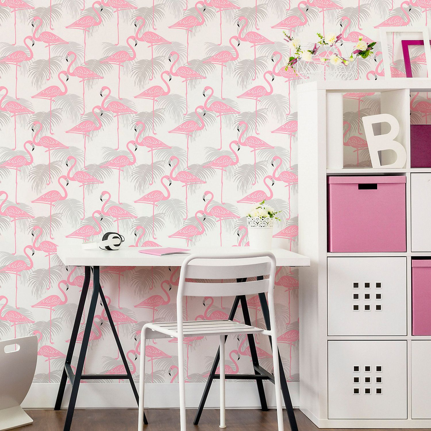 Fine décor Pink Flamingo Wallpaper Pink and green