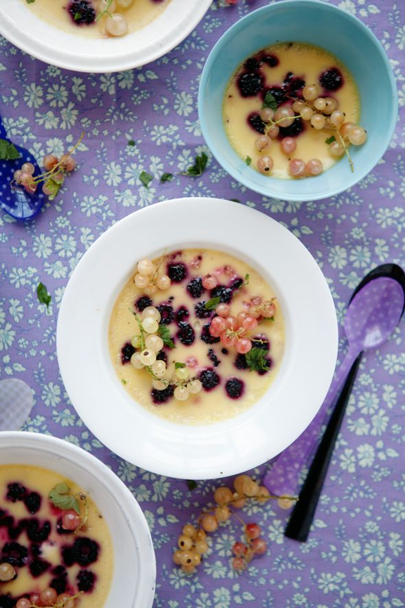 cardamom and lime-flavored custard studded with black raspberries and currants