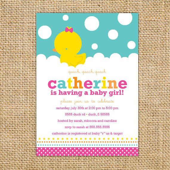 girl rubber ducky baby shower invitation printable  girl baby, Baby shower
