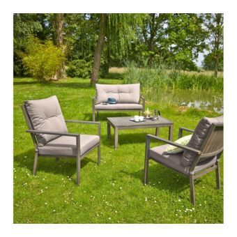 CARREFOUR - Salon de jardin bas HONFLEUR - 1 table basse + 2 ...