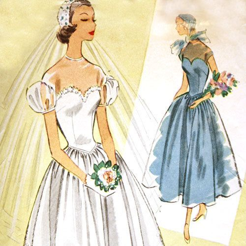 Mccall 39 s 8822 misses 1950s wedding dress pattern basque for Mccall wedding dress patterns