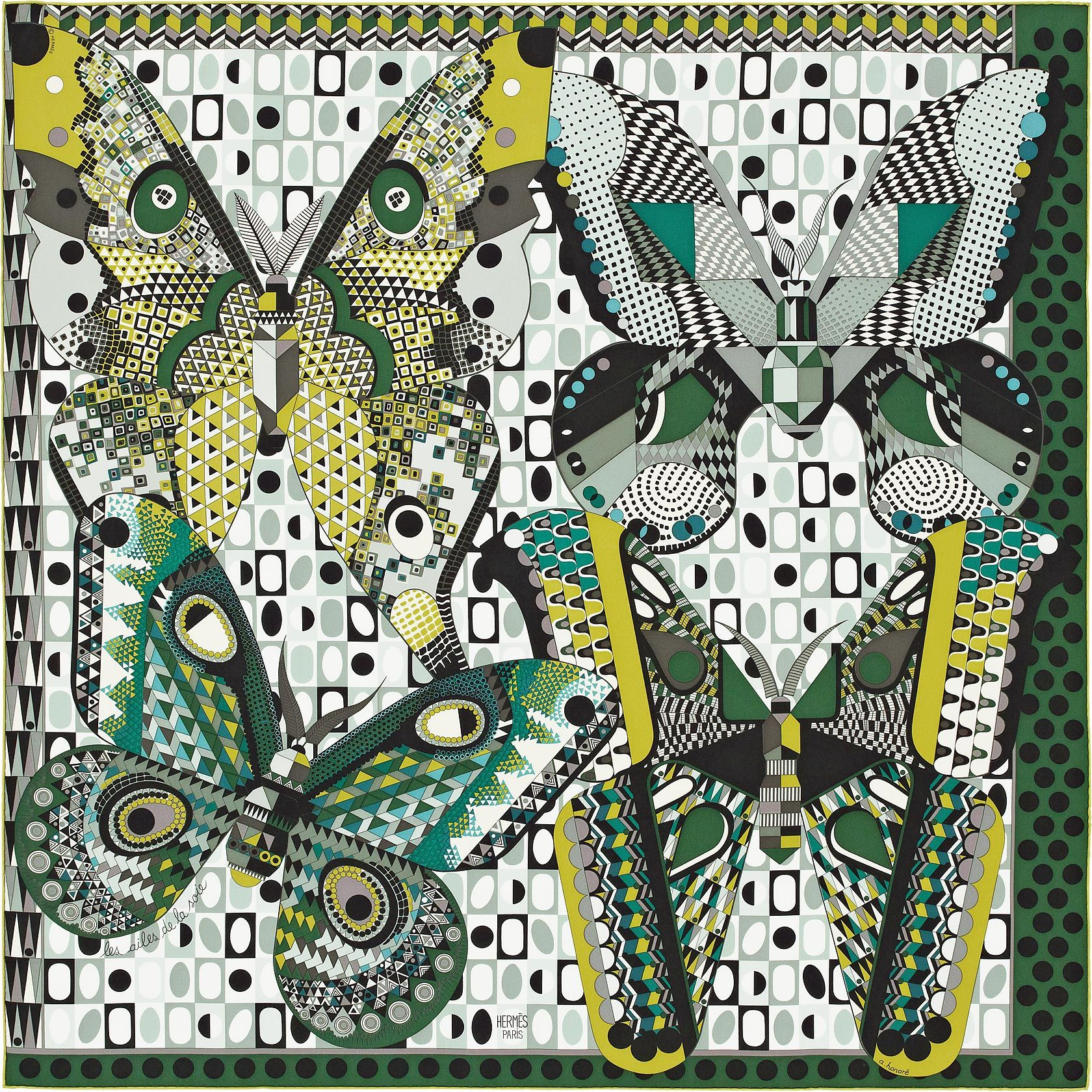 Carré 90 x 90 cm Hermès   Les Ailes de la Soie by Aline Honoré DESIGN  HISTORY   The butterfly is without doubt the most enduring symbol of  metamorphosis. 2b2d377b95e