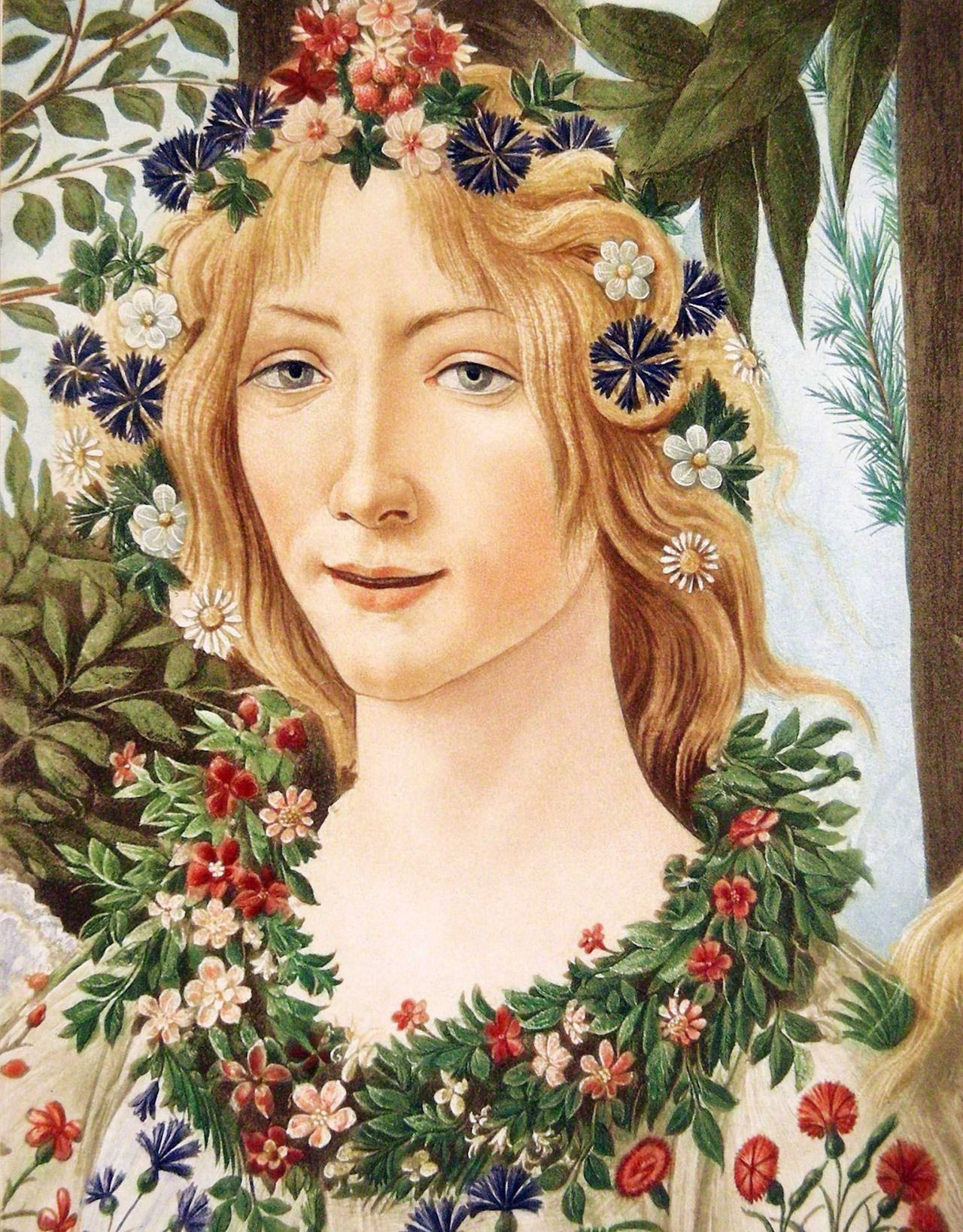 La Primavera Detail Of Flora C 1482 Sandro Botticelli Botticelli Artwork Beautiful Art