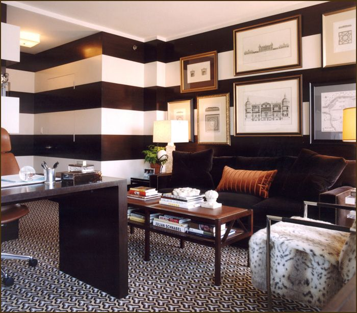 Decoration Style, The Excitting Room Also Strip On Wall Then White Also Black Strip Also Black Sofa Also Wooden Table Also Beautiful Carpet Also Picture On Wall Also Interesting Pillow: The Modern Design Of The Room In The House By Using The Best Stripes On Walls Idea