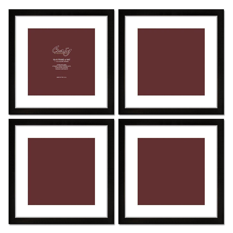 Craig Frames 1WB3BK 16 by 16-Inch Black Picture Frame, White Mat ...