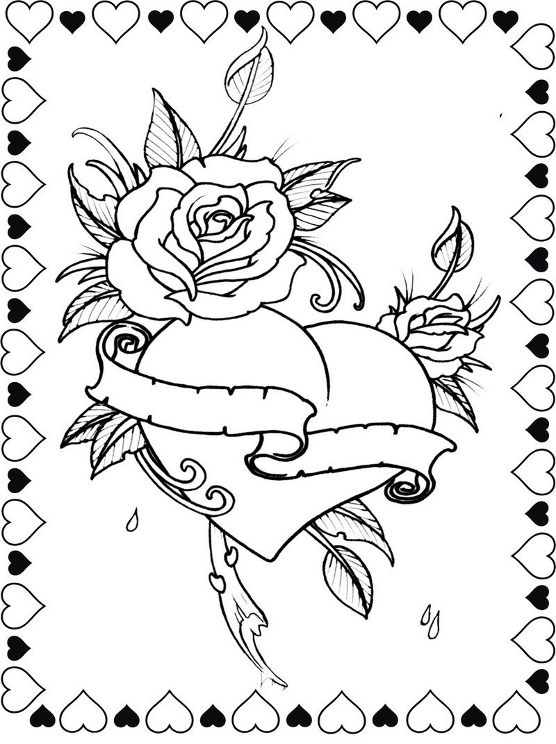 Hearts And Roses Coloring Is Another Unique Coloring Book For Two Mommy And Son Or Daugh Love Coloring Pages Valentines Day Coloring Page Heart Coloring Pages